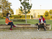 Young people are sitting in a park, keeping distance from each other.